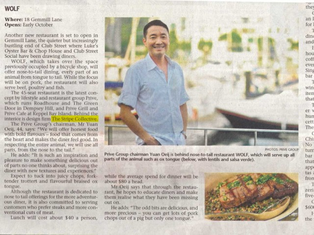 Wolf – Straits Times News Article