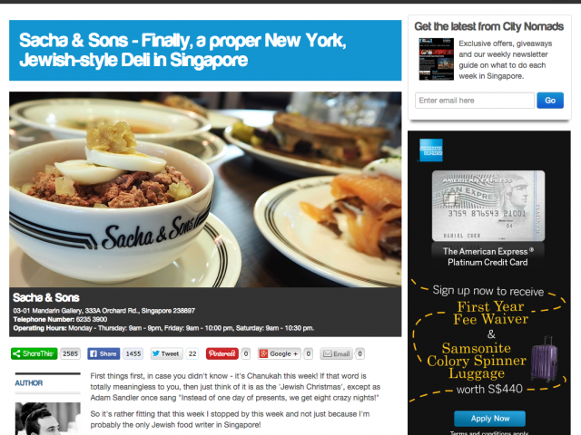 City Nomads reviews Sacha & Sons